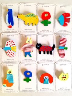 Keimoga Illustration Postcard and Brooch Ceramic Jewelry, Ceramic Clay, Clay Jewelry, Jewellery, Diy And Crafts, Crafts For Kids, Arts And Crafts, Diy Clay, Schmuck Design