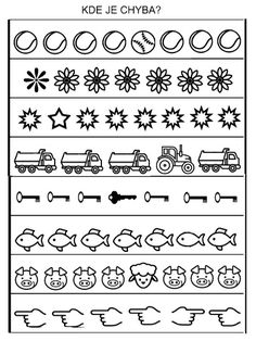 na premysleni, kde je chyba Letter Worksheets For Preschool, Free Preschool, Preschool Printables, Kindergarten Worksheets, Dyslexia Activities, Kids Learning Activities, Coding For Kids, Math For Kids, Preschool Painting