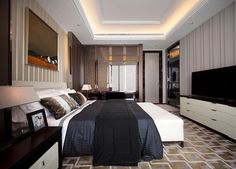 Penthouse Master Bedroom by STEVE LEUNG DESIGNERS