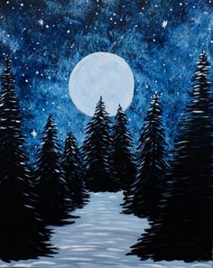 Full Moon Winter's Night at The Hideout - Paint Nite Events near South Salt Lake. - Full Moon Winter's Night at The Hideout – Paint Nite Events near South Salt Lake, UT> - Night Sky Painting, Moonlight Painting, Moon Painting, Winter Painting, Easy Paintings, Landscape Paintings, Watercolor Paintings, Christmas Paintings, Moon Art