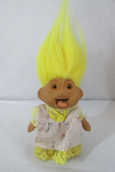 NASTY TROLL Doll YELLOW Hair Rare Outfit Tags Only TOYS N THINGS 1991
