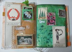 Altered book for friend Roxie. Choose two 2-letter combinations and create a 2-page spread for each conbination. I chose O&P and W&X. This is the O-P combination.
