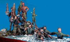 'The Human Chain' Roger's Rangers cross the St. Francis River 1759. A stunning 54mm scratch built diorama by Maurizio Berselli