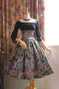 Surface Spell -Lady in Darkness- Dark-striped High Waist Fishbone Lolita Skirt - Customziable