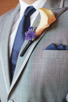 For the boys...grey suit with navy tie | Image 82396 - bouts | Peach | grey suit navy tie groom pocket square ...