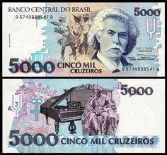 5000 Cruzeiros Brazil 1993 Carlos Gomes on front