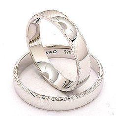 Mønster Elegant gifteringer i 14 karat hvitt gull - par