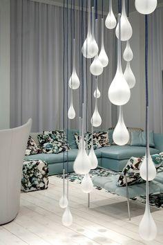 Contemporary style glass pendant lamp SIGMA - melogranoblu