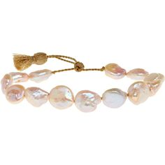 LENA SKADEGARD Blush Baroque Pearl Bracelet ($99) ❤ liked on Polyvore featuring jewelry, bracelets, pearls, pulseiras, blush, handcrafted jewelry, handcrafted jewellery, beachy jewelry, 18k bangle and baroque pearl jewelry