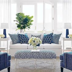Loving this blue and white palette for this pattern-filled sunroom ☀️ Shop our sunroom Lookbook and more thru [LINK IN PROFILE] Image via @housebeautiful #kathykuohome #interiordesign #sokathykuo