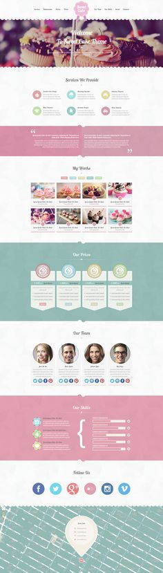 Sweet Cake - One Page PSD Theme by Zizaza - design ocean , via Behance