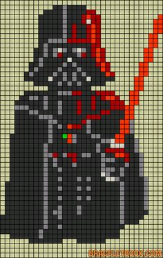 Darth Vader Star Wars perler bead pattern but could e used for cross stitch. Cross Stitch Charts, Cross Stitch Designs, Cross Stitch Patterns, Star Wars Crochet, Crochet Stars, Pearler Bead Patterns, Perler Patterns, Star Wars Desenho, Cross Stitching