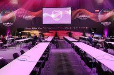 Pressebereich ESC 2015 Wien - mit Tischen von Eventwide Wien Eurovision Songs, London, Poland, Germany, London England