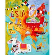 Oopsy Daisy Visit Asia Stretched Canvas Wall Art