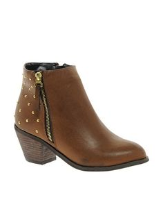 Image 1 ofBlink Zip Detail Ankle Boot with Studded Heel