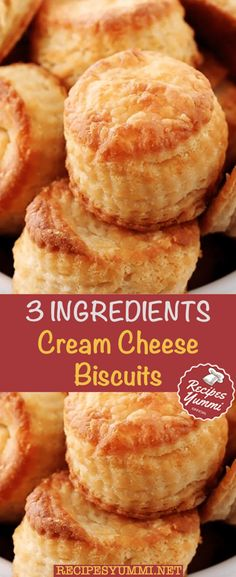 3 Ingredients Cream Cheese Biscuits easy 3 ingredients easy for a crowd easy healthy easy party easy quick easy simple Cream Cheese Desserts, Cream Cheese Recipes, Low Carb Recipes, Snack Recipes, Dessert Recipes, Bread Recipes, Yummy Recipes, Cake Recipes, Healthy Recipes