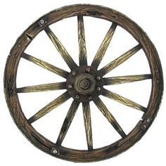 """Accent homedécor with this polyresin, Brown Wagon Wheel.    Size: 9 1/2"""" round x 1 1/4"""" thick"""