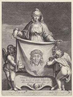 "theraccolta: ""Jacob Matham after Abraham Bloemaert Veronica's Veil, 1605 "" Veil Of Veronica, St Veronica, Catholic Art, Religious Art, Holy Mary, Masonic Art, Linear Art, Pictures Of Jesus Christ, Harvard Art Museum"