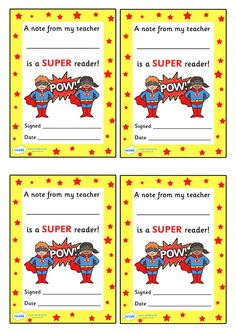Note From Teacher Super Reader.  Free Printable