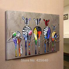 Zèbre Pop Art peintures À L'huile toile peinte À La Main Andy Warhol Mur Art Photos Animaux Cuadros Accueil Decoracion Pour Salon