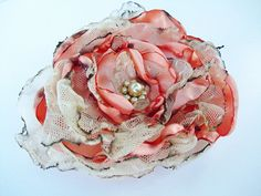 Peach Flower Accessory with tea stained tulle by OurPlaceToNest, $10.00