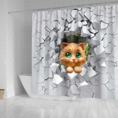 All of our Shower Curtains are custom-made-to-order and handcrafted to the highest quality standards.  Each shower curtain is constructed with a premium polyester waterproof material for maximum color vibrancy and exceptional durability.  Printed using state-of-the-art wide-format printers which offer uncompromising gallery quality. Cat Shower Curtain, Shower Curtains, Easy Install, Animal Paintings, Printers, Cats, 3d, Gallery, Hooks