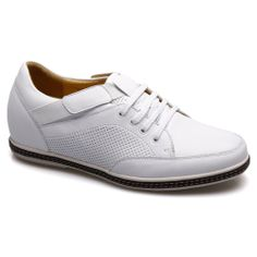 White Leather Lifts For Men's Casual Shoes