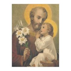 St. Joseph Baby Jesus  Lily Fleece Blanket  #catholic #catholicgifts #blankets #traditionalcatholic