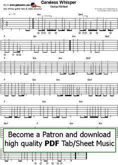 Careless Whisper by George Michael - easy guitar tab