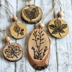 You don't have to even know how to draw to create these natural looking wood burned ornaments for autumn.