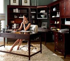 Wonderful Luxury Home Office Design is part of Traditional home office furniture when a person are redecorating Business office don& ignore concerning the wonderful series of Luxury Home Office Des - Cozy Home Office, Home Office Space, Home Office Desks, The Office, Office Ideas, Office Table, Office Chairs, Office Decor, Black Home Office Furniture