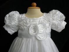 Girls Rosette and Tulle Christening Flower Girl Communion