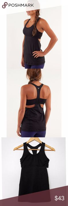 Lululemon Black Racerback Cutout Turbo Tank - 4 Lululemon Athletica Retired Turbo Tank in Black - Racerback Style Athletic Supportive Tank Top with Built in Bra - Size 4  • Side cutouts below back bra band • Ruching detail in mid-back.  • Seaming in front and side for flattering fit • Chest area is fully lined with breathable perforated nylon/spandex • Pockets for removable padding (Insertable cups not included) • Great for running • 82% Nylon, 13% Lycra Spandex • Worn once; perfect…