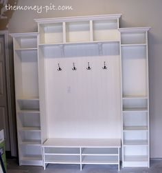 "Combine IKEA bookcases for an inexpensive mud room ""built-in."""