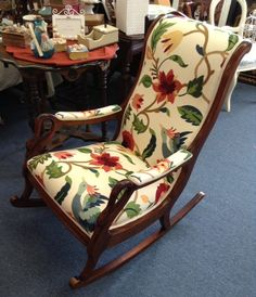 Gooseneck Rocking Chair in Blue and Cream by WydevenDesigns, $495.00 ...