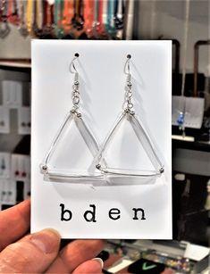 Triangular tube earrings by bdenglass on Etsy