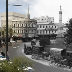 """This is a example of rephotography from the Burton Brothers. I thought this was an excellent example because it demonstrates the """"then and now"""" aspect of change over time. This shows a clear time lapse between the digitally altered black and white addition to the more present day, colorful photo. Other details that deems this as rephotography besides the digital alterations is that it allows us to remember a past time. Clearly the cars are present vs the wagons from the past.(K.Mayfield)"""