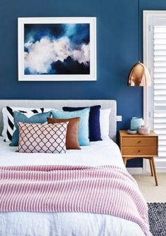 dreamt up this cosy bedroom colour scheme, featuring a stormy cloud artwork from that sets the tone for… Cosy Bedroom, Dream Bedroom, Home Decor Bedroom, Modern Bedroom, Bedroom Interiors, Trendy Bedroom, Bedroom Ideas, Bedroom Color Schemes, Bedroom Colors