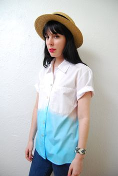 Up cycled / YeYe Ombre / over size / pointed collar / by YeYe, $32.00