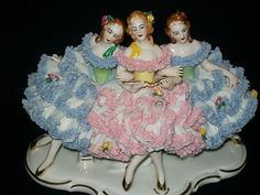 Antique German Porcelain Karl Klette Dresden Lace 3 Ballerinas Lady Figurine | eBay