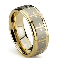Mens Tungsten Ring, Gold Plated Wedding Band, High Polish, Crosses, – Available Sizes: Half Sizes Tungsten Jewelry, Tungsten Mens Rings, Matching Wedding Band Sets, Wedding Matches, Celtic Wedding Rings, Wedding Ring Bands, Tungsten Carbide Wedding Bands, Engagement Ring Sizes, Womens Wedding Bands