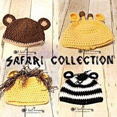 Crochet Newborn Hat and Photoprops Safari Collection Lion, Giraffe, Zebra, and Monkey