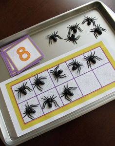 Halloween math for preschool.  Add magnets to spiders to use them on a cookie sheet with spider web ten frame.