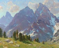 Cascade Canyon by Bill Cramer Oil ~ 24 x 30 Mountain Art, Mountain Landscape, Landscape Art, Landscape Paintings, Oil Painting Trees, Mural Painting, Classic Paintings, Cool Paintings, Jackson's Art