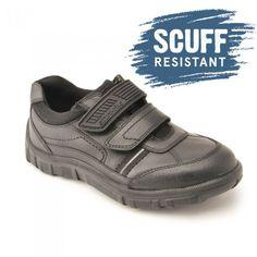 new arrival 33ad5 3c969 Luke, Black Leather Boys Riptape School Shoes - Boys - School Shoes