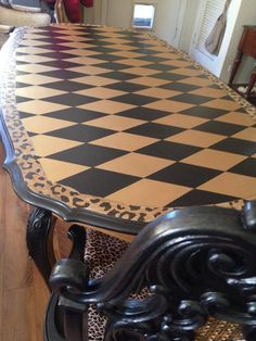 Southside Furniture Revival used Black Pearl and Gold Rush Metallic Paint for this incredible harlequin diamond table!