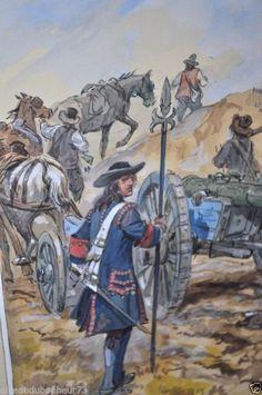 Maurice TOUSSAINT Aquarelle originale Artillerie canon de Vallière sous Louis XV