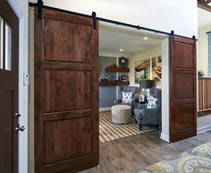 Schumacher Homes - The Olivia Barn Doors #SchumacherHomes www.schumacherhomes.com/locations/