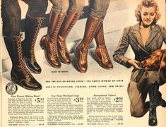 "Vintage Shoes women's boots ""For the out-of-doors lover. The Ranch woman or hiker."" - History of winter, rain, and snow vintage boots from the and Tips on buying vintage style winter boots. Vintage Boots, Vintage Outfits, Vintage Fashion, Vintage Style, 1940's Fashion, Vintage Wardrobe, Ladies Fashion, Fashion Ideas, Camping Outfits"