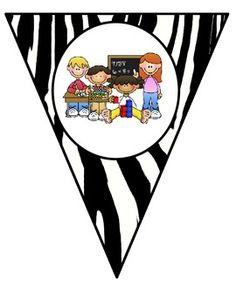 FREE Zebra Theme Math Center Pennants